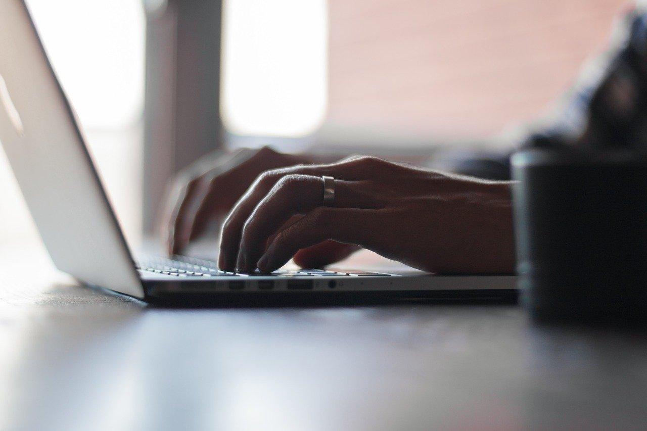 typing, working, laptop
